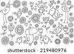 flower bird doodle illustration ...   Shutterstock .eps vector #219480976