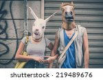 Horse And Rabbit Mask Couple O...