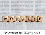 worship word on wooden block | Shutterstock . vector #219497716