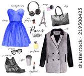 hand drawn fashion illustration ... | Shutterstock . vector #219500425