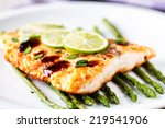 fillet of salmon with asparagus | Shutterstock . vector #219541906