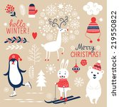 set of christmas graphic... | Shutterstock .eps vector #219550822