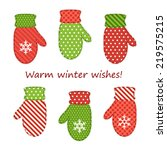 cute mittens as retro fabric... | Shutterstock . vector #219575215
