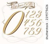tattoo set of numbers and... | Shutterstock .eps vector #219575626