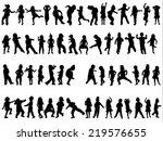 children silhouettes | Shutterstock .eps vector #219576655