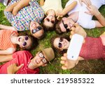 group of young people having... | Shutterstock . vector #219585322