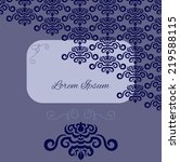 blue damask pattern invitation | Shutterstock .eps vector #219588115