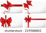 set of cards with red gift bows.... | Shutterstock . vector #219588802