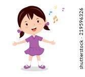 little girl singing. cheerful... | Shutterstock .eps vector #219596326
