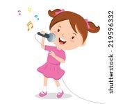 girl singing. little girl... | Shutterstock .eps vector #219596332