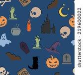 vector seamless halloween... | Shutterstock .eps vector #219600022
