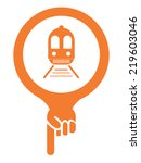 orange map pointer icon with... | Shutterstock . vector #219603046