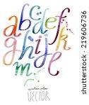 watercolor alphabet vector   Shutterstock .eps vector #219606736