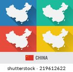 china world map in flat style...