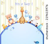 baby shower card with toys.  | Shutterstock . vector #219615976