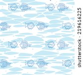 seamless pattern with fishes   Shutterstock .eps vector #219616225