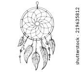 dreamcatcher  feathers and... | Shutterstock .eps vector #219635812