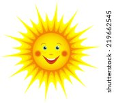 cute smiling orange sun cartoon ... | Shutterstock . vector #219662545
