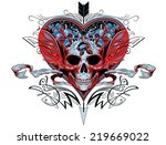 skull in a red heart graphic...