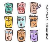 sketch emoticons face... | Shutterstock . vector #219670342