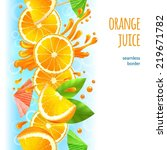 sliced oranges with leaves and... | Shutterstock . vector #219671782
