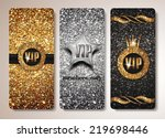 set of gold and silver vip cards | Shutterstock .eps vector #219698446