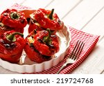 roasted bell peppers stuffed... | Shutterstock . vector #219724768