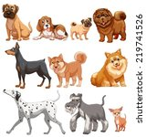Stock vector illustration of different kind of dogs 219741526