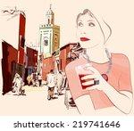 woman visiting marrakesh in... | Shutterstock .eps vector #219741646