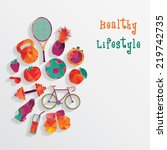 healthy lifestyle background | Shutterstock .eps vector #219742735