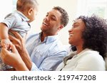 young family playing with happy ... | Shutterstock . vector #219747208