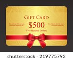 gold gift card with red ribbon... | Shutterstock .eps vector #219775792