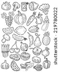 vector hand drawn fruit and... | Shutterstock .eps vector #219780022