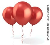 three red balloons  isolated on ... | Shutterstock . vector #219830896
