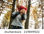 mother with daughter in autumn... | Shutterstock . vector #219849022