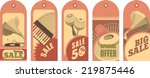 set of five price tags with...