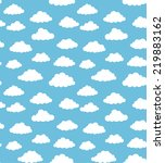 seamless white clouds on blue... | Shutterstock .eps vector #219883162