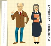 professors couple in flat... | Shutterstock .eps vector #219886105