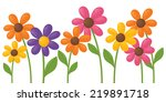 colourful daisies individually... | Shutterstock .eps vector #219891718