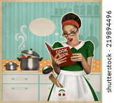 Young beautiful woman cooks in...
