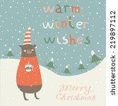 christmas card with cute bear... | Shutterstock .eps vector #219897112