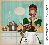 Young Woman Cooks In The...
