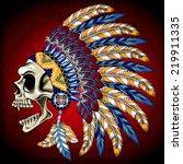 Vector Illustration Indian Skull