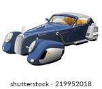blue car of  the retro future | Shutterstock .eps vector #219952018