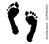Black Ink Foot Prints Isolated...