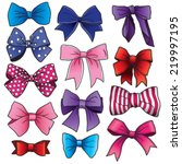 A Set Of Vector Cartoon Bows...