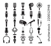 microphone icons set. vector... | Shutterstock .eps vector #220012948