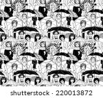 people under umbrella seamless... | Shutterstock .eps vector #220013872