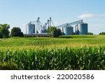 Cornfield With Silos And Farm...