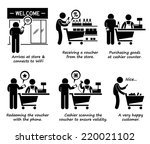 shopping at store and redeeming ... | Shutterstock .eps vector #220021102